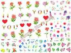3D Nail Art Sticker Rose Daisy Flower Leaves Floral Decals Manicure Peel  Stick