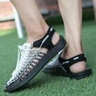 Men's Breathable Weave Leather Sandals Outdoor Closed Toe Fisherman Summer Shoes