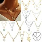 Women Boho Multi-layer Long Chain Pendant Crystal Necklace Choker Collar Jewelry