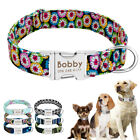 Nylon Cotton Personalised Dog Collar Pet Nameplate Custom Engrave ID Collar Tags