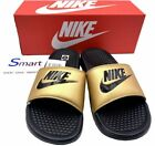 NIB SIZE 8-10 WOMEN Nike Benassi JDI Logo Slides Sandals Slippers BLACK GOLD GYM $34.99 USD on eBay