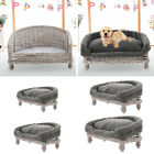 Raised Pet Woven Bed Sofa Shabby Wicker Wood Bench Armchair Dog Pup Cat Sleeping