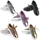 FOREVER FP37 Women's Metallic Glitter Lace Up Street Fashion Sneakers