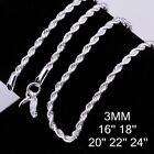 18k White Gold Plated Diamond Cut Rope Chain Necklace Silver .925 Italy