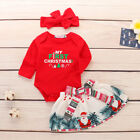 US Christmas Newborn Baby Girl Top Romper+Pants Headband Outfit Set Clothes