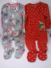 NWT Carter's Toddler Girls Pajamas Footed 1 pc one piece Cat or Rudolph 2T-5T