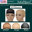 2 PCS Wig Cap Liner Stocking Cap Nylon Stretch Black brown Beige