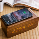 Modern Wooden 15 w Digital LED Desk Alarm Clock Thermometer Qi Wireless Charger