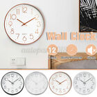 12'' Wall Clock Quartz Round Wall Clock Silent Non Ticking Battery Operated Au