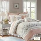 9pc Blush Pink & White Cottage Chic Lace Duvet Cover Bedding Set AND Decorative