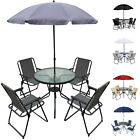 6pc Outdoor Garden Patio Furniture Set 4 Folding Chair Round Glass Table Parasol
