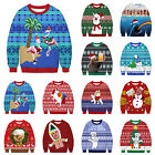 Women Men Couples Xmas 3D Print Sweater Jumper Ugly Funny Pullover Top Unisex