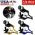 "1 Pair 7/8"" 22mm Motorcycle Clutch Brake Master Cylinder Reservoir Levers Parts"