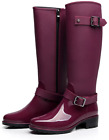 Omgard Women Rubber Rain Boots Mid Calf Waterproof Wellies Rainboots High Knee S