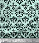 Soimoi Green Cotton Poplin Fabric Flourish Damask Fabric Prints-Uhq