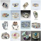 Gorgeous Two Tone 925 Silver Rings Women Cubic Zircon Wedding Ring Size 6-10