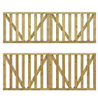 2 pcs Garden Slats Gates Impregnated Pinewood Wooden Timber Fence Door Side NEW