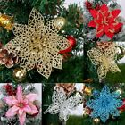 Christmas Poinsettia Glitter Butterfly Flower Tree Hanging Party Decoration Hot