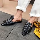 Womens Leather Mules Slides Backless Sandals Slippers Flat Heel Square Toe Shoes