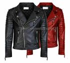 MENS GENUINE REAL LEATHER JACKET ASYMMETRICAL BIKER SLIM FIT NEW