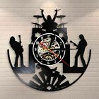 Rock and Roll Band LED Light Wall Clock Metal Music Group Vinyl Record Decor New