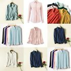 Solid Loose T-Shirt Elegant New Womens V Neck Casual Pullover Long Sleeve