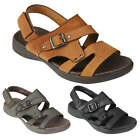 Mens Leather Strap Sandals Open Toe Soft Sole Summer Beach Walking Slider Shoes