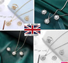 Uk Crystals Pearl Chain Pendant Necklace Women Jewellery Set New Ladies Gift