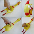 17CM YELLOW SCREAMING RUBBER CHICKEN TOY PRESSURE RELIEF SQUEAK GIFT ORNATE