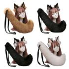 Faux Fur Wolf Ears Headband and Furry Anmimal Long Tail Kit Cosplay Costume Set
