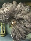 """coffee XL 2 layers Ostrich Feather Fan 34"""" x 60"""" with leather Travel Bag"""