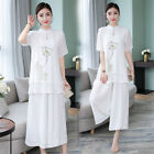 Summer Lotus Linen Blend Loose Women's Shirt  Pants Suits Set Cheongsam M-3XL