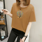 Colorful Tree Short Sleeves Women's Loose T-Shirts Tops Blouses M-2XL