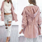 Autumn Winter Long Sleeves Women's Dust Coat With Hat Tops Blouses S-XL
