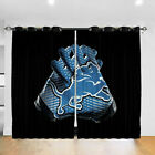 Detroit Lions Thermal Curtain Panel 2PCS Bedroom Living Room Window Drapes Gifts