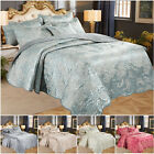 Luxury 3 PCS Quilted Jacquard Bedspread Satin Bed Throw Bedding Set Double King