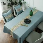 Luxury Classical Embroidered Table Runner Waterproof Simulation Silk Tablecloth