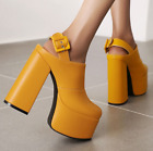Womens Round Toe Block High Heels Ankle Boots Buckle Platform Casual Shoes Party