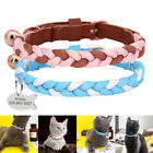Personalised Cat Collar Adjustable Braided Rope Leather Kitten ID Name Collar