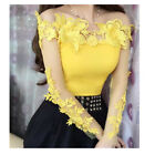 Ladies Lace Embroidery Shirts Tops Mesh Floral Pullover Hollow Out Sheer Blouse