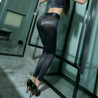 WOMEN'S SHINY Silky Workout Leggings Zipper Open Crotch Transparent Trousers