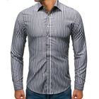 Mens Casual Business Slim Striped Shirts Button Front Long Sleeve Blouses Tops
