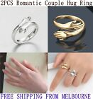 2pcs Couple Hug Ring Adjustable Open Rings 925 Sterling Silver Silver Or Gold