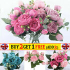 9 Heads Artificial Fake Rose Flowers Silk Peony Wedding Bouquet Home Table Decor