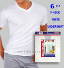 6 Mens Undershirts T shirt V Neck T Shirts Cotton Tee Shirt WHITE