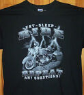 "New Black Shirt "" EAT SLEEP RIDE REPEAT ""  Sz Sm - 5XL"