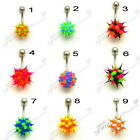 KOOSH BELLY BAR SPIKEY SILICONE SURGICAL STEEL NAVEL BAR CLEARANCE