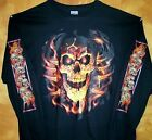 Sweatshirt  MOLTEN LAVA SKULL w/ SLEEVE SKULLS  Black Sz Sm - 5XL  Mean & Hot