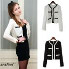 Textured Classic Basic Cropped Cardigan Blazer bolero Prim Trim Short jacket hot