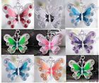 Fashion crystal enamel butterfly necklace pendant 7 clour to choose